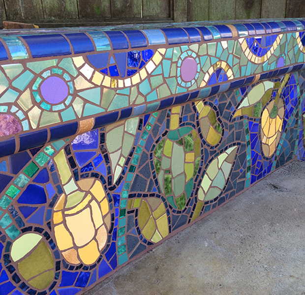 Mosaic bench by Wilma Wyss